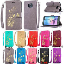 Luxury Flip Gilding Butterfly PU Leather Wallet Case Card Strap Cover For Phone