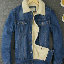 Retro HOT Mens Fur Lining Jean Denim Fleece Jacket Western Cowboy Coat Outwear