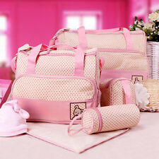 5PC Mommy Diaper Bag Set Shoulder Bag+Handbag+Bottle Bag+Lunch Tote+Changing Pad