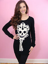 Betsey Johnson Skeleton Key Tunic Sweater Black Dress Top White Skull