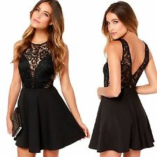 Women Sexy Sleeveless Lace Slim Bodycon Party Evening Cocktail Short Mini Dress