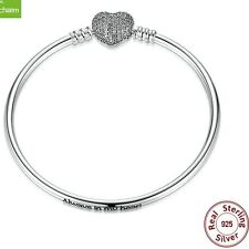 925 Sterling Silver Solid Bangle Clear Rhinestone Heart Clip European Bracelet