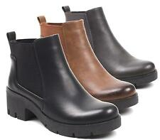 WOMENS LADIES CHUNKY MID BLOCK HEEL SHOES PLATFORM ANKLE CHELSEA BOOTS 3-8