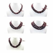 2/3/4/5 LINE MULTI UNTREATED NATURAL REAL GARNET GEMSTONE FANCY BEADS NECKLACE