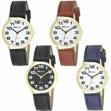 Ravel Men Gents Casual Classic Leather Strap Gold/White Dial Watch