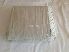 Set of 3 Shabby chic washed flax Linen lace duvet cover comforter w 2 pillows
