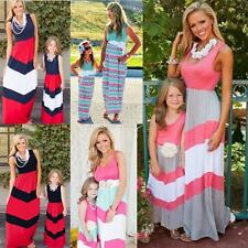 Mother Daughter Family Fitted Stripe Maxi Dress Mommy Kid Matching Set Outfits