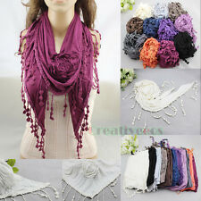 Fashion Women's 3D-Flower Triangle Scarf Shawl Wrap Lace Trim Tassel Comfortably