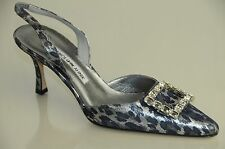$1045 New MANOLO BLAHNIK Carolyne JEWELED crystals silver leopard  SHOES 37