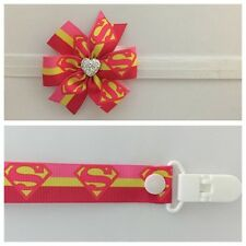 girls baby headband dummy clip hair bow supergirl clip pacifier party photo
