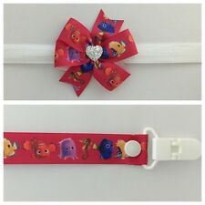 girls baby headband dummy clip hair bow nemo dory clip pacifier party photo