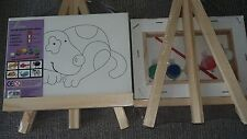 Dog Mini Canvas Set With Easel Paint & Brush Small Display Wooden Art Craft