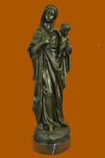 Bronze Sculpture Blessed Mother Mary Holds Baby Jesus X Statue Figurine Figure