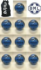 10 x MITRE MISSION TRAINING FOOTBALLS + BALL SACK - CYAN BLUE - SIZES 3 - 4 - 5