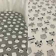 Grey or white fox bassinet/moses basket fitted sheet - 100% cotton