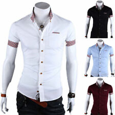 Men's Short Sleeve Stylish T-Shirts Fitted Slim Dress Shirt Casual Work Tee Tops