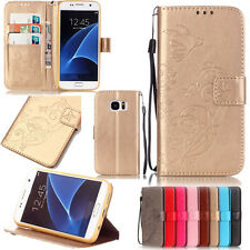 Embossed Floral Card Holder Flip PU Leather Strap Wallet Case Cover For Phone
