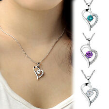 Pretty Elegant  Ladies Full Diamond Pendant & Chain Necklace Jewelry New