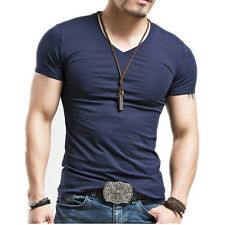Fashion Men's Short Sleeve Slim Fit V-neck/Crew Neck Muscle Tee Sports T-shirt