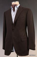 CESARE ATTOLINI Napoli HandMade Brown Plaid Wool Cashmere Blazer Jacket NEW