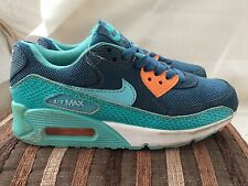 Nike Air Max 90 Blue/Green Trainers Size 3 UK Womens/Older Boys/Girls