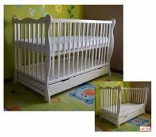 BABY Cot Bed Solid Wood White Walnut Mattress Drawer Converts to Junior Toddler