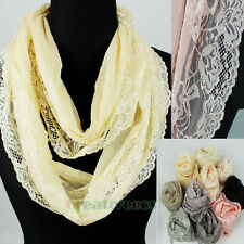 Stylish Fashion Women's Floral Lace Thin Long Scarf Lace Trim Shawl Tassel Retro