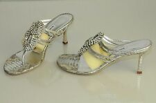 $1345! New MANOLO BLAHNIK JEWELED Crystals Silver PYTHON Sandal SHOES 38 wedding