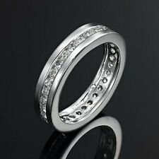 Simulated Diamond Rhodium Layered Eternity Rings Simulated Diamond