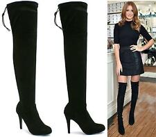 WOMENS LADIES THIGH HIGH BOOTS OVER THE KNEE PARTY STRETCH STILETTO HIGH HEEL SI