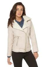 BNWT NEW LADIES FAUX SUEDE BORG BIKER JACKET SIZE 8 10 12 14 18 BEIGE LEATHER