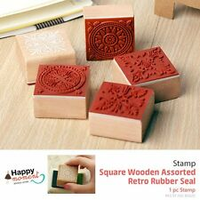 (6 Types) Square Wooden Assorted Retro Rubber Seal Stamp Craft Gift Deco 1 pc