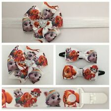 dummy clip pacifier girls paw patrol headband hair clip bow skye everest baby