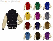 Faux Leather & Premium Wool Sleeves Varsity Letterman Baseball Jacket Hoodies