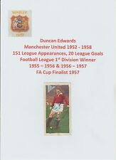DUNCAN EDWARDS MANCHESTER UNITED 1952-1958 VERY RARE ORIG HAND SIGNED CHIX CARD