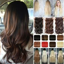 Long Curly/Straight/Wavy OnePcs Clip In Hair Extensions Synthetic Brown Hair f82