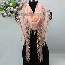 New Fashion Women's Striped Floral Lace Trim Tassel Triangle Scarf Shawl Wrap