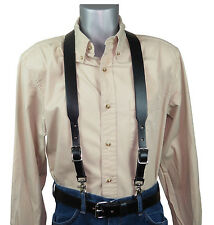 2 piece set Black Leather Suspenders with scissor snaps, matching belt