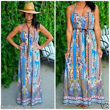 Boho Blue Pink Moroccan Paisley Border Print Flowy V-Neck Maxi Dress W/Belt S-L