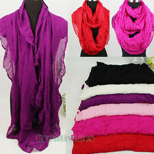 Fashion Solid Color Infinity Wrinkle Long Loop Cowl Eternity Casual Voile Scarf
