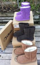 UKALA Sydney Suede Wool Lined Low winter Boots Little Girl brown PICK size color