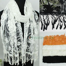 Stylish Embroidery Floral Lace Trim Tassel Mantilla Oblong Scarf Princesse Shawl