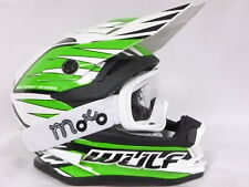 NEW ADULT WULFSPORT ADVANCE MOTOCROSS OFF ROAD GREEN HELMET+X1 OFF WHITE GOGGLES