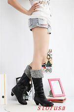 Women Lady Fur Line Low Heel Knee High Boots Shoes Pointy Toe Winter Boots Size