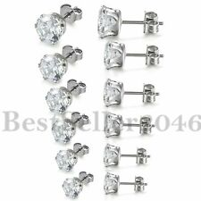 3mm-8mm Stainless Steel w/Round Cut CZ Cubic Zirconia Men Women Stud Earring 2PC