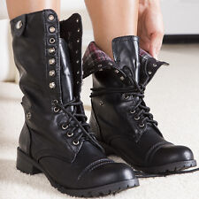 Army Chic Distressed Lace-up Fold-over Combat Mid-Calf Boots Black All Sz