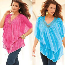 Women's Loose Multi-Layer Short Batwing Sleeve Top Casual Blouse Adorable