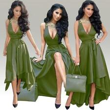 Sexy Women Deep V-Neck Sleeveless Bandage Club Evening Cocktail Party Gown Dress