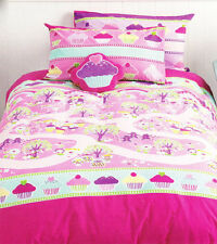 Cupcakes Enchanted Forest Reversible Quilt Doona Cover Set SINGLE DOUBLE CUSHION