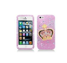 For Apple iPhone SE/5/5S Luxury 3D Full Diamond Crown Pink Case Skin Cover Bling